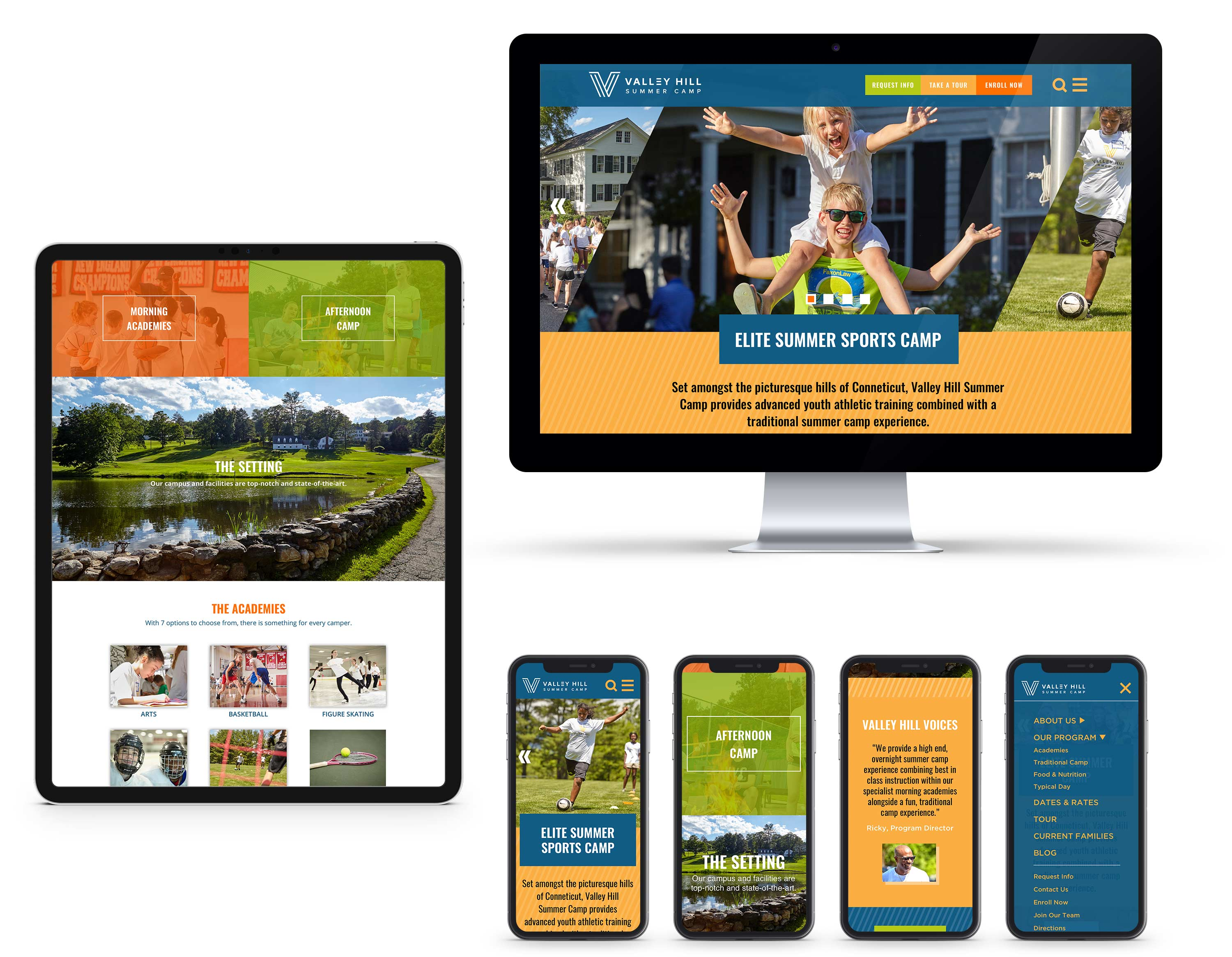 Valley Hill Summer Camp website on desktop, ipad, and iphone