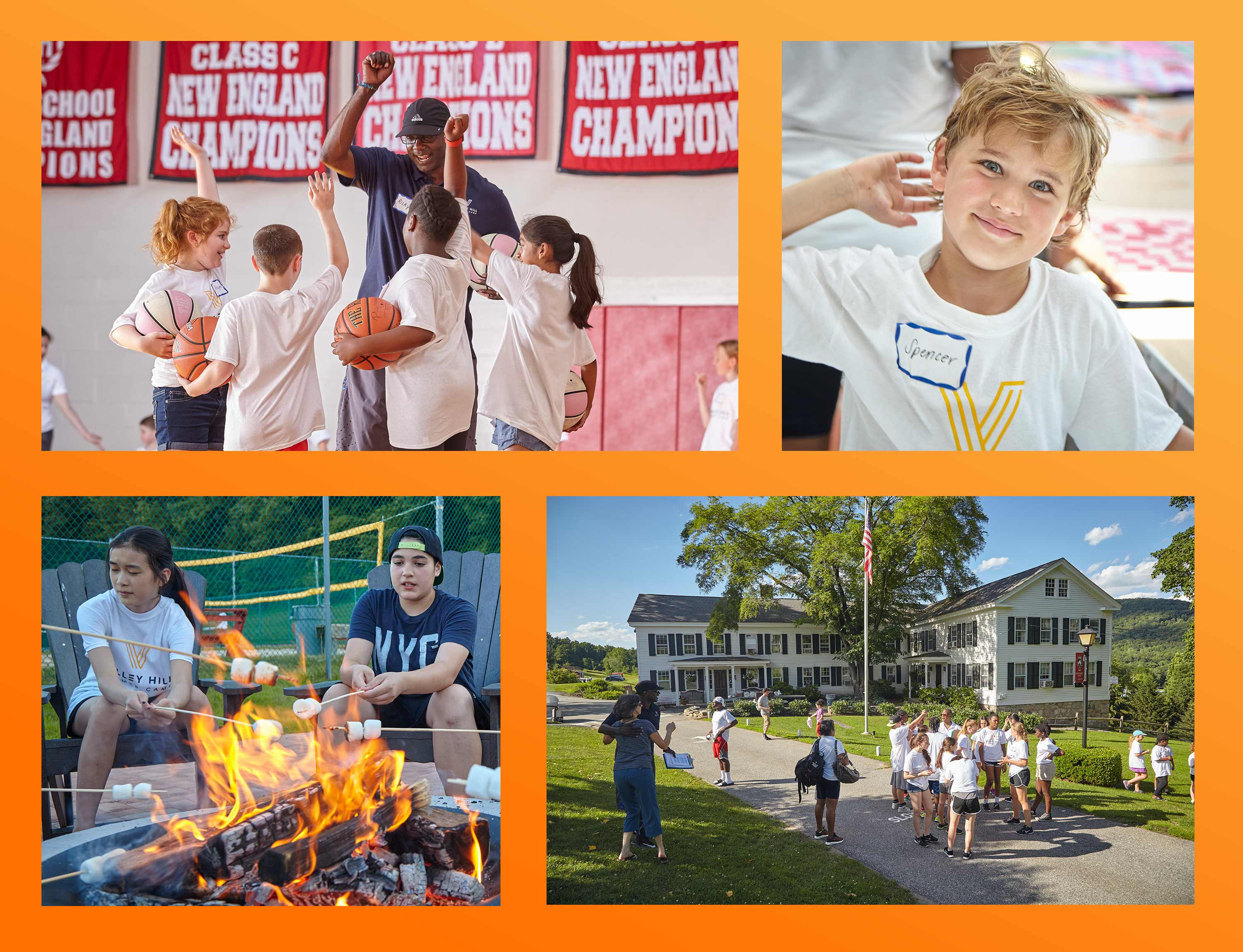 Photos of basketball players, art camp, roasting marshmallows, and location of Valley Hill