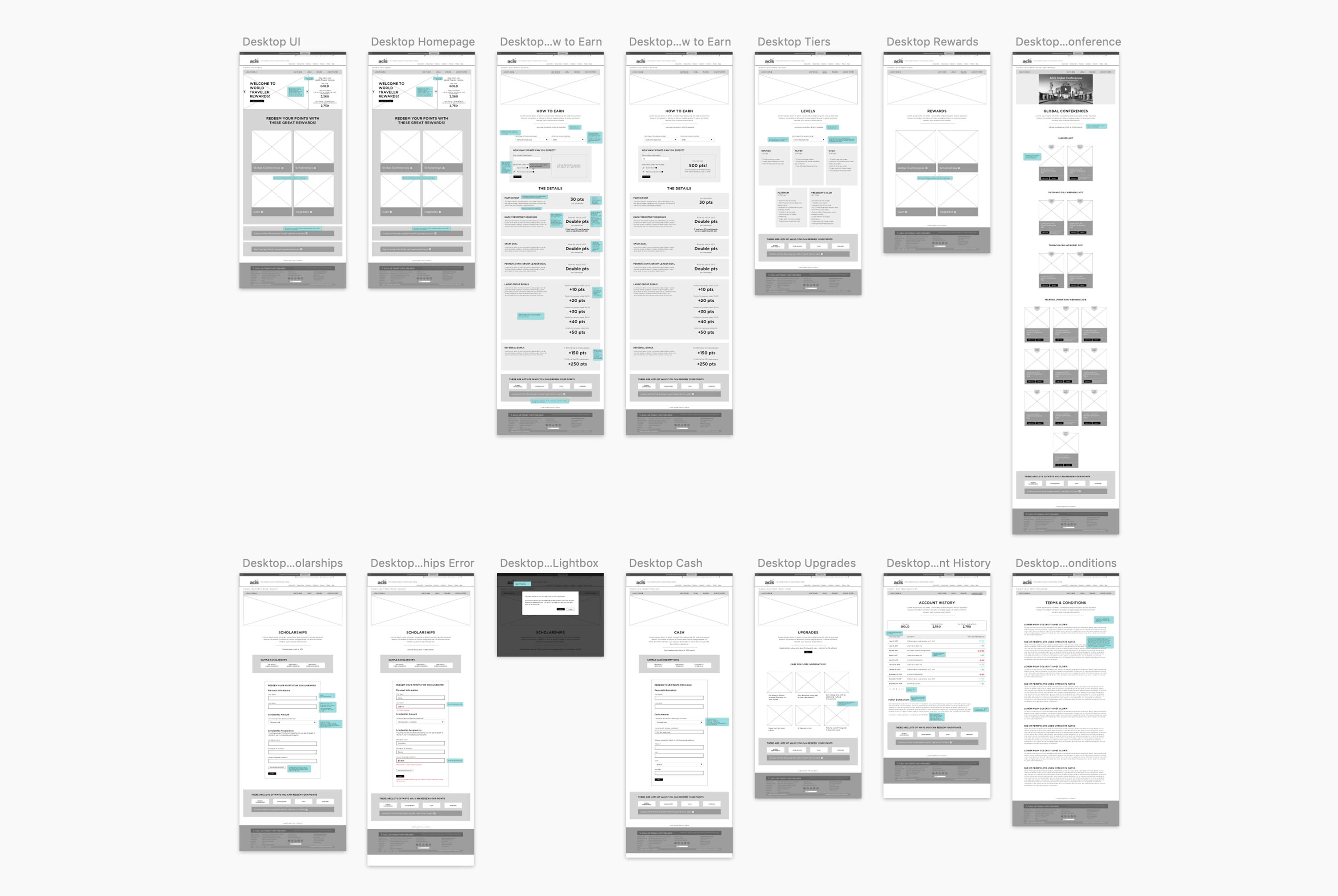 ACIS Loyalty Club wireframes