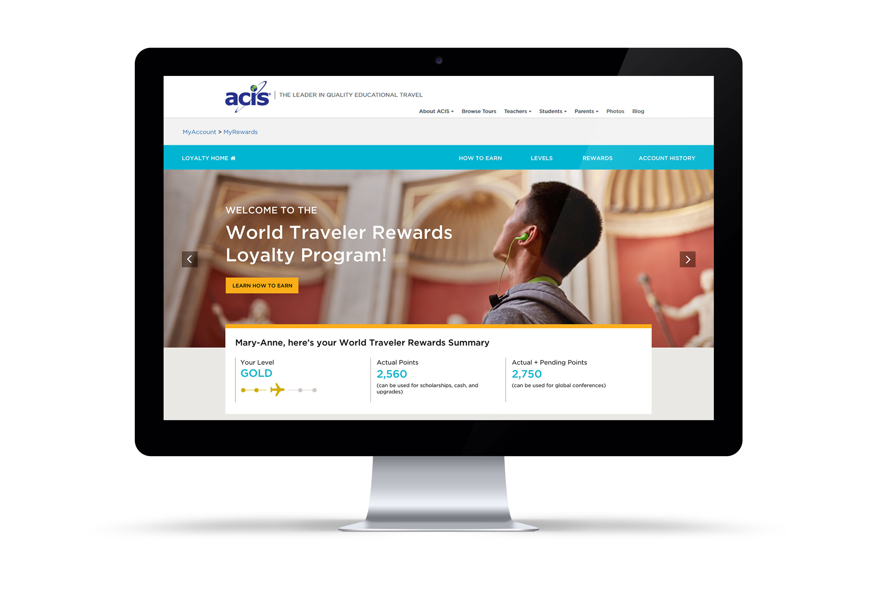 ACIS Loyalty Club homepage on desktop screen