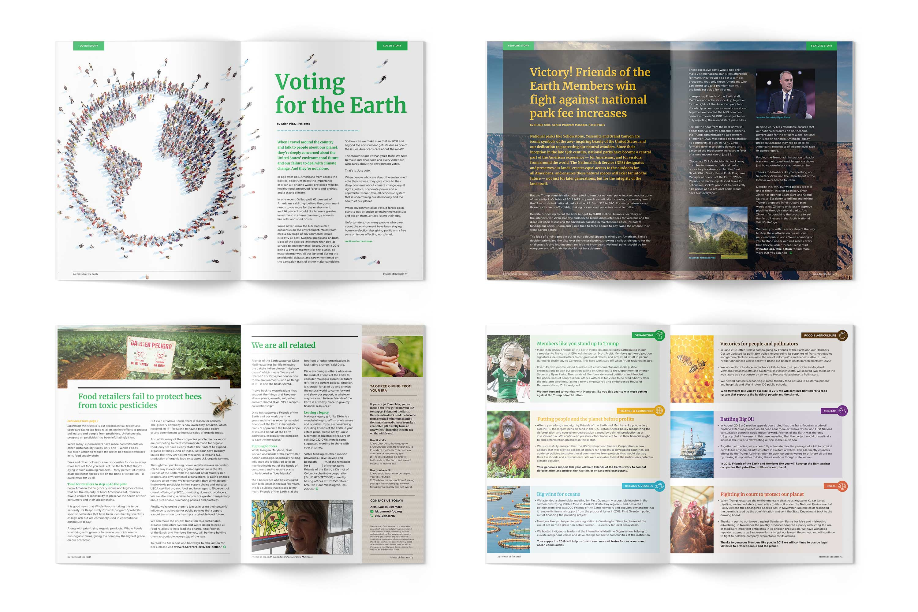 Friends of the Earth magazine newsletter interior spreads