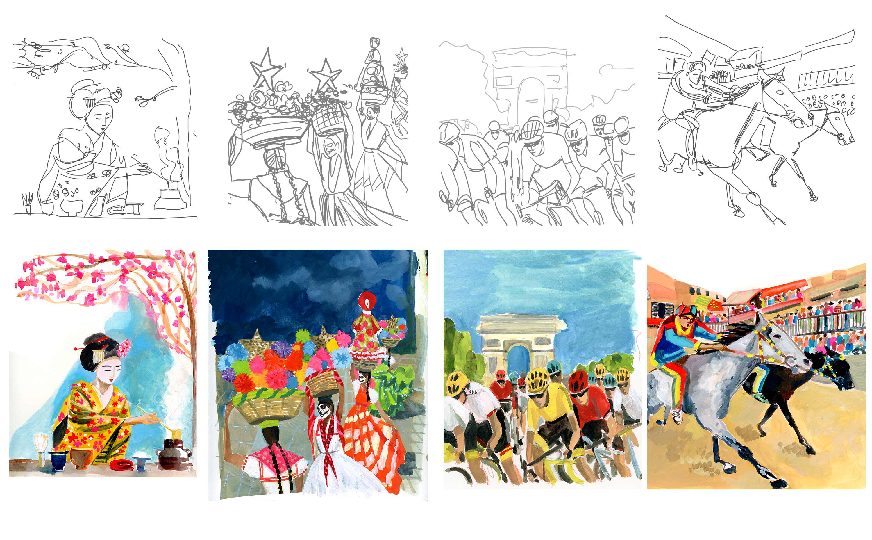 ACIS illustrator sketches and final illustrations