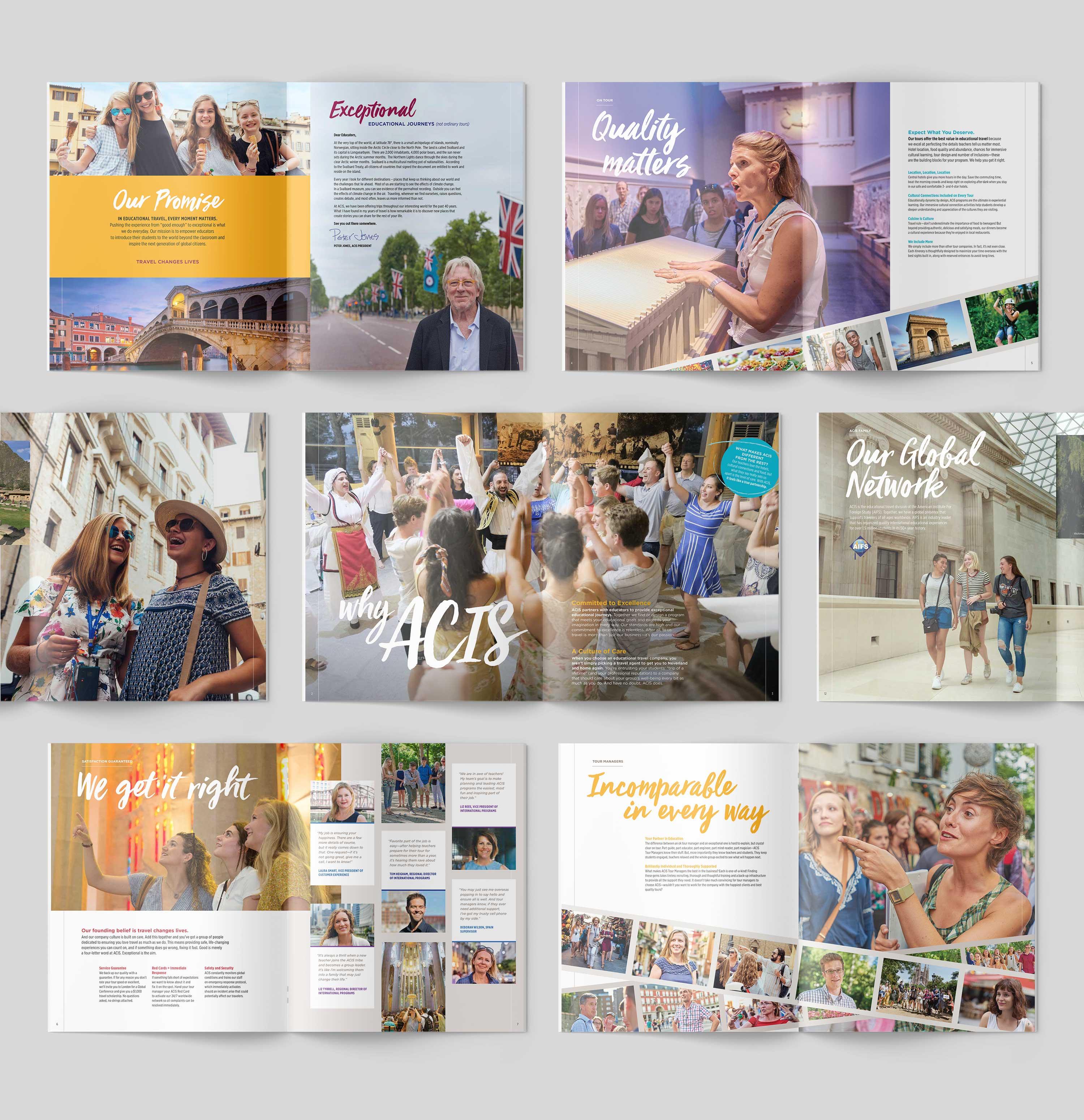 ACIS Catalog interior spreads on grey background