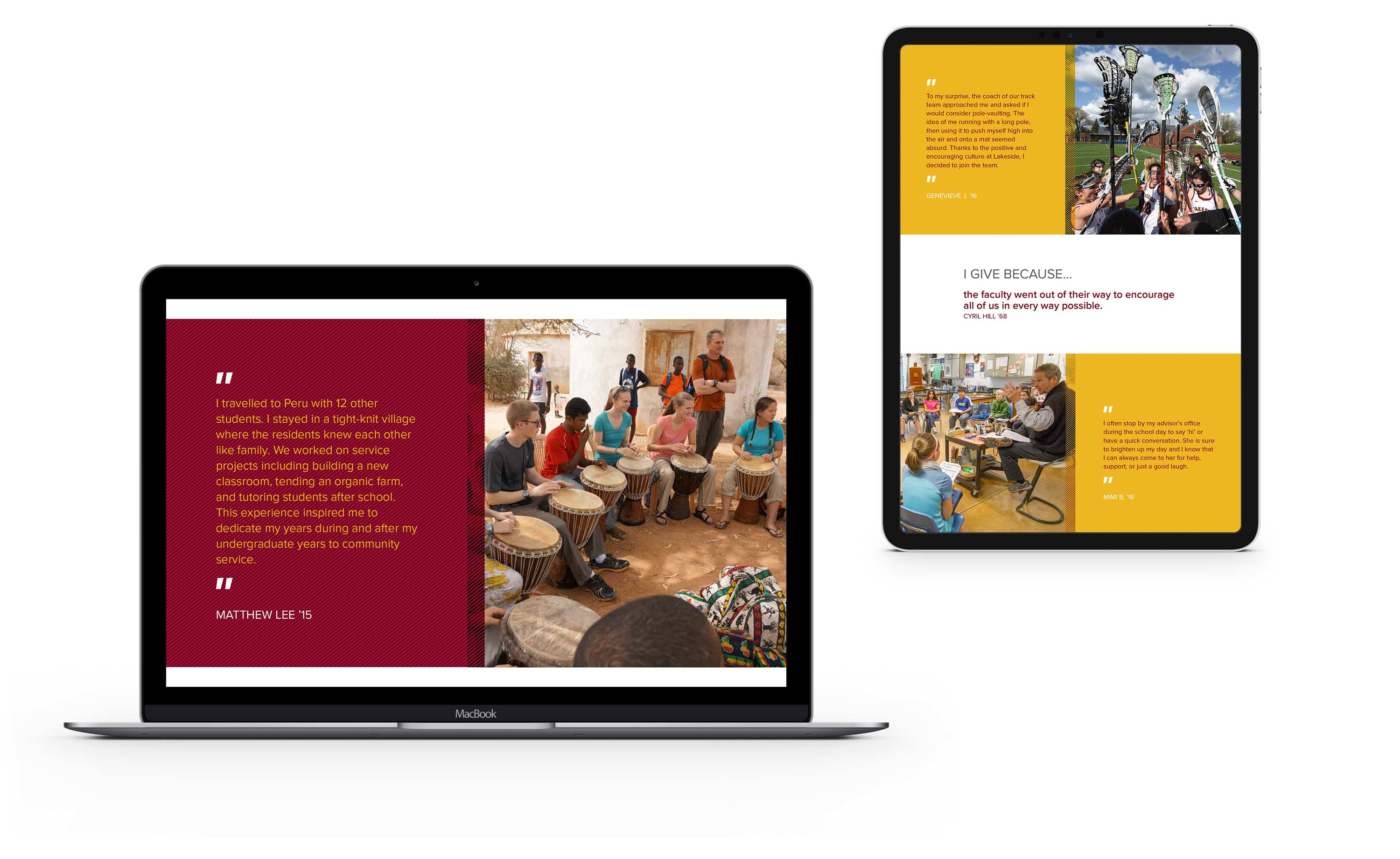 Lakeside School Annual Report website on iPad and laptop
