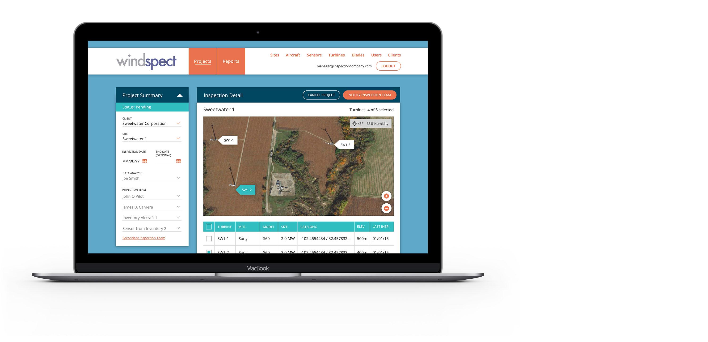 Windspect Project Summary screen on laptop
