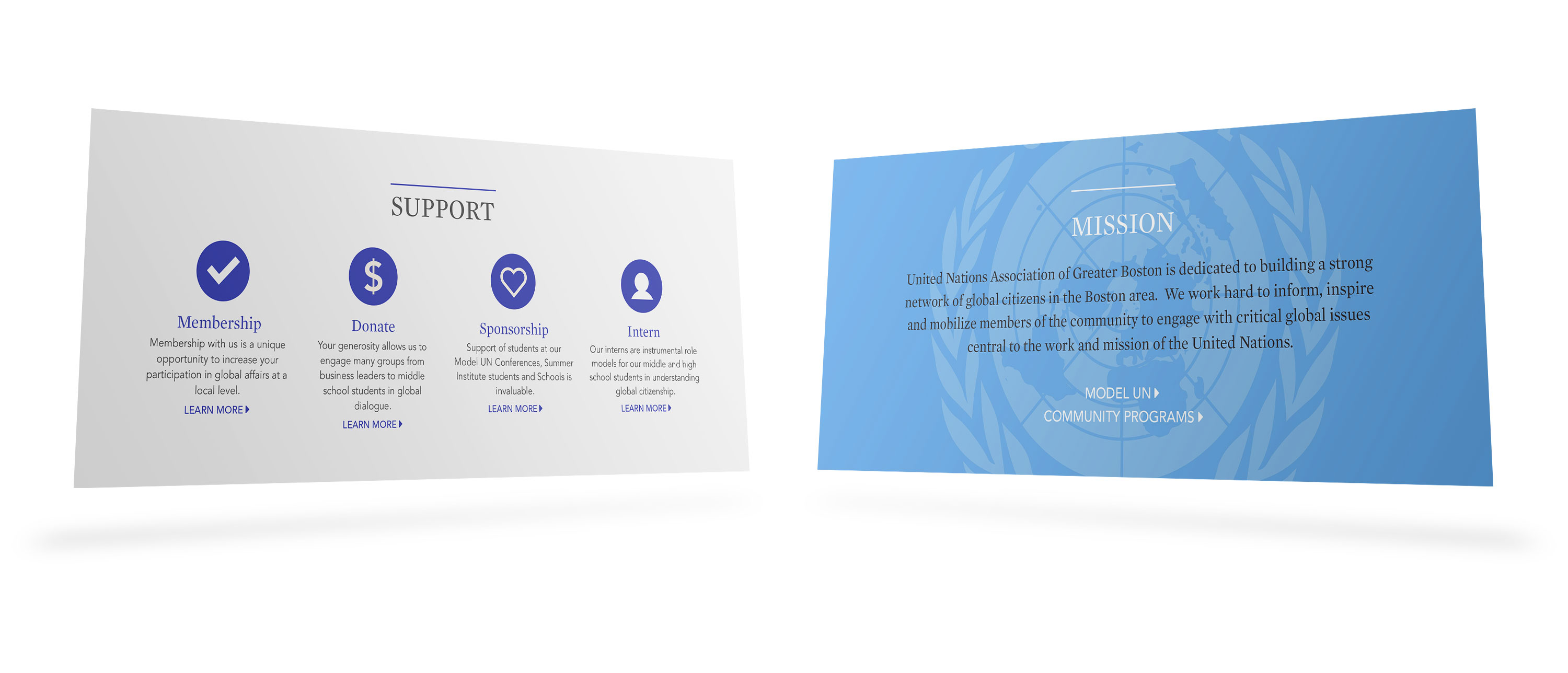 Floating panels showing UNAGB support opportunities and mission statement
