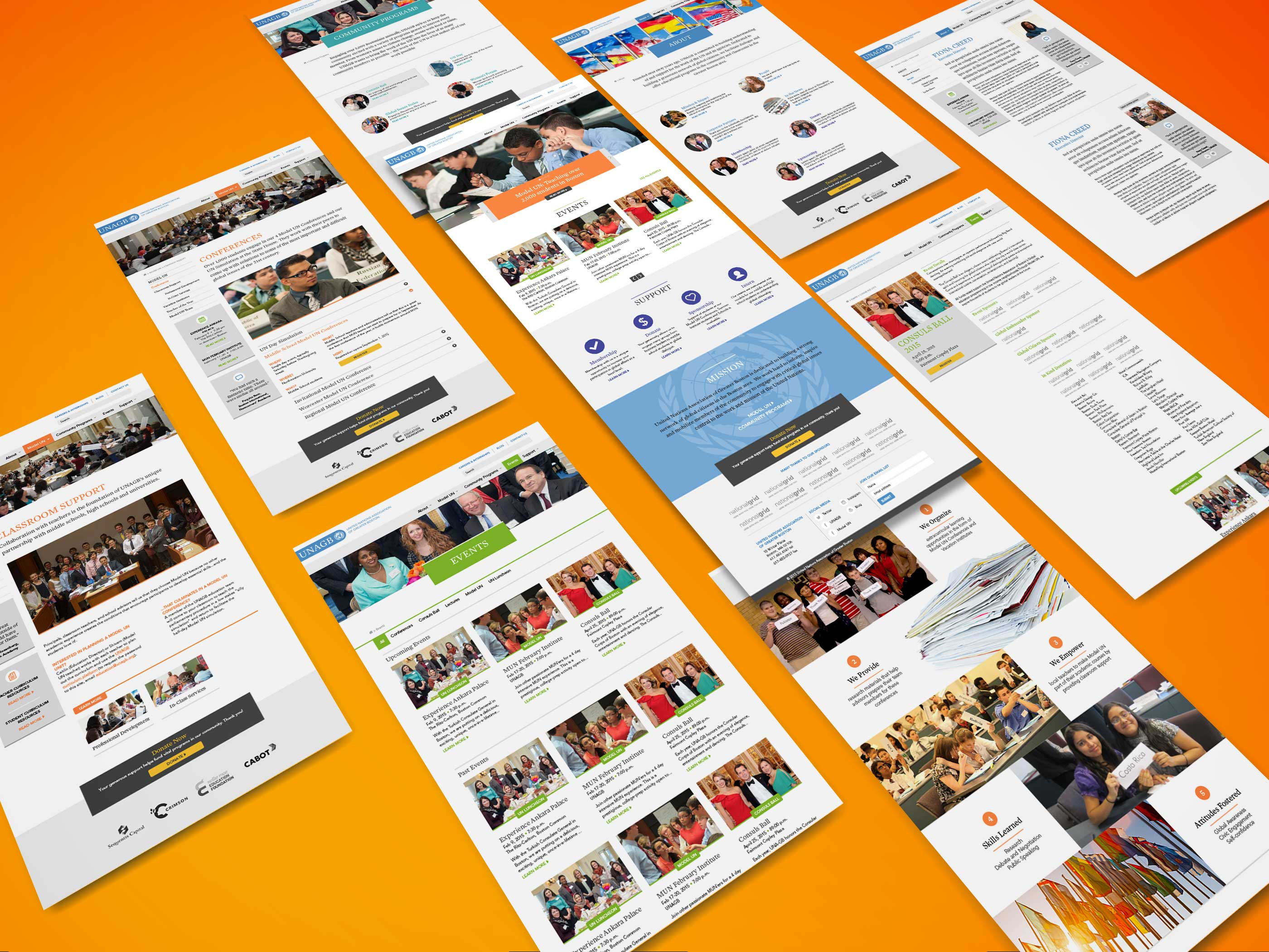Multiple pages of the UNAGB website on orange background