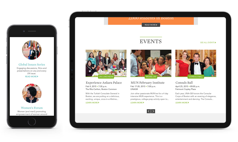 UNAGB website on iPhone 6 and iPad Pro