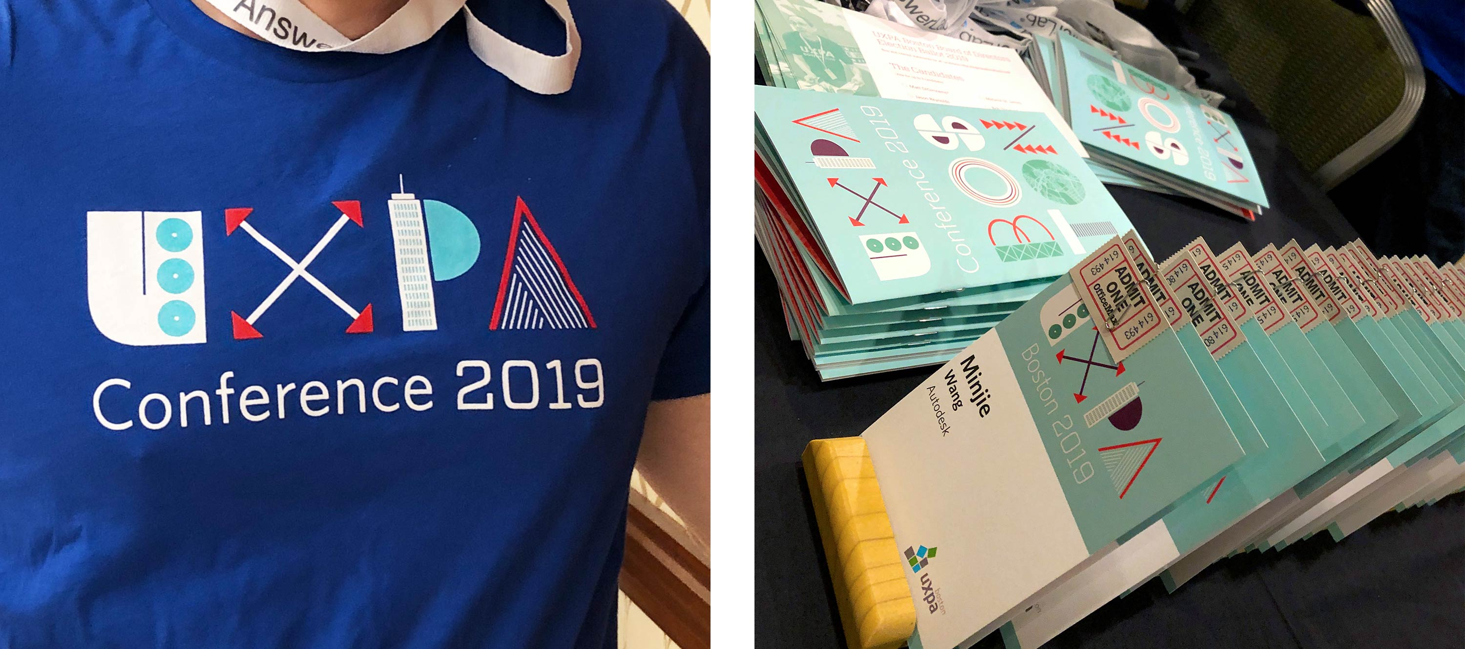 Close up images of conference t-shirts and name tags.