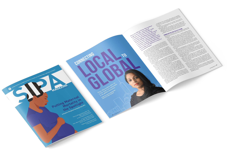 Columbia SIPA Magazine cover and interior spread