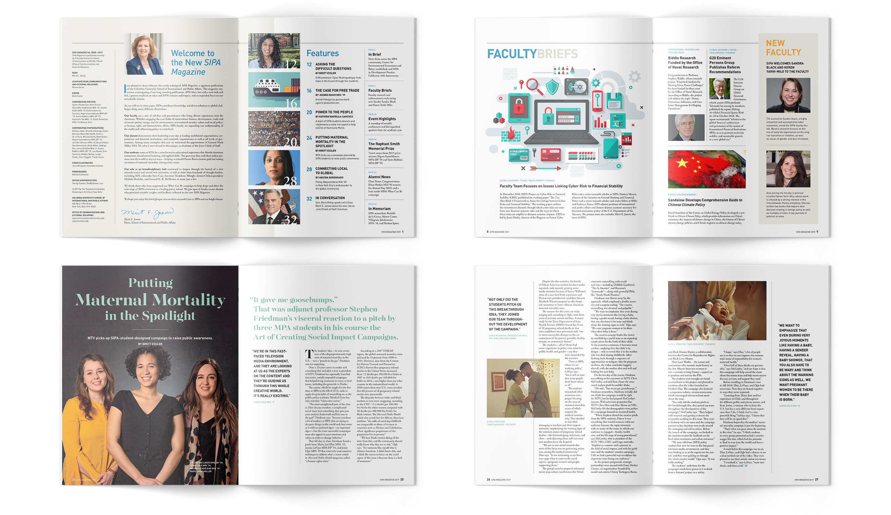Sample spreads from SIPA Magazine, including TOC, Faculty Briefs, and Maternal Mortality feature.