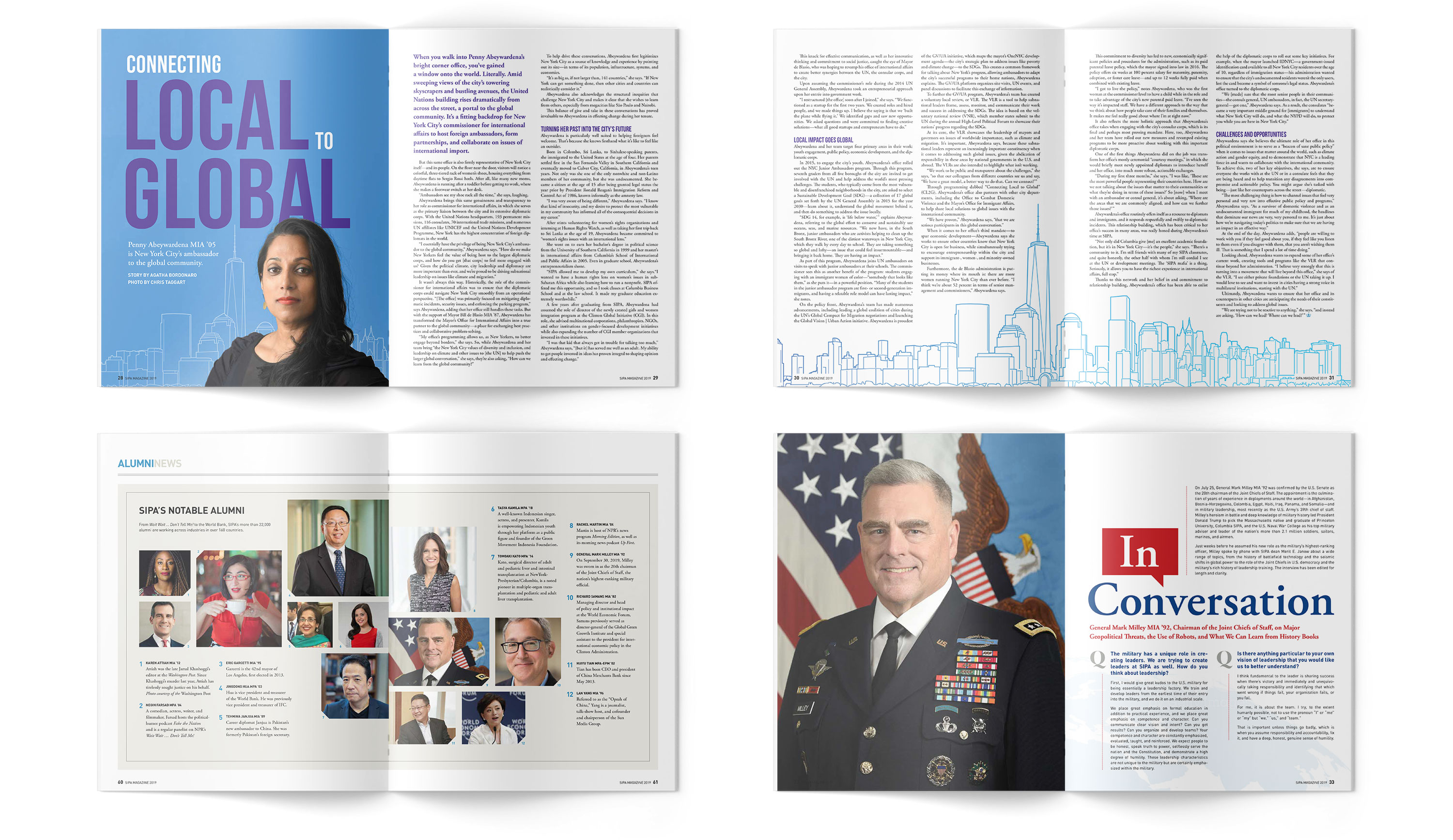 Sample spreads from SIPA Magazine, including Global feature, Notable Alumni news, and Conversation with Alumni feature.