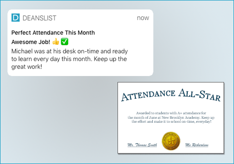 Send home push notifications and award certificates.