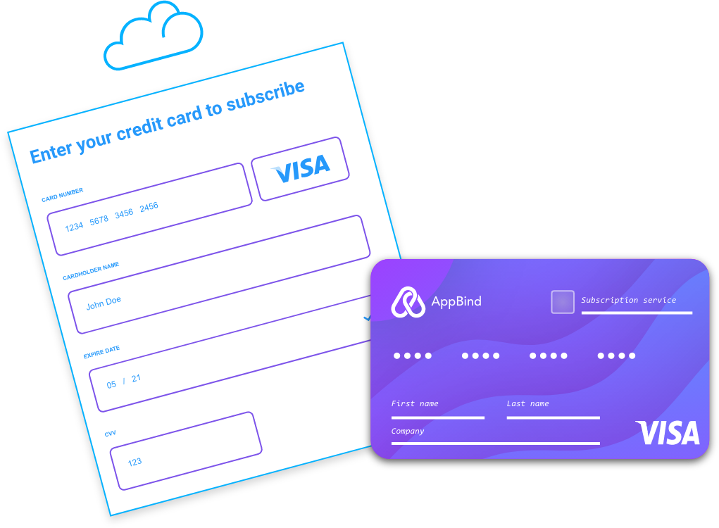 Create a new credit card to purchase any online subscription