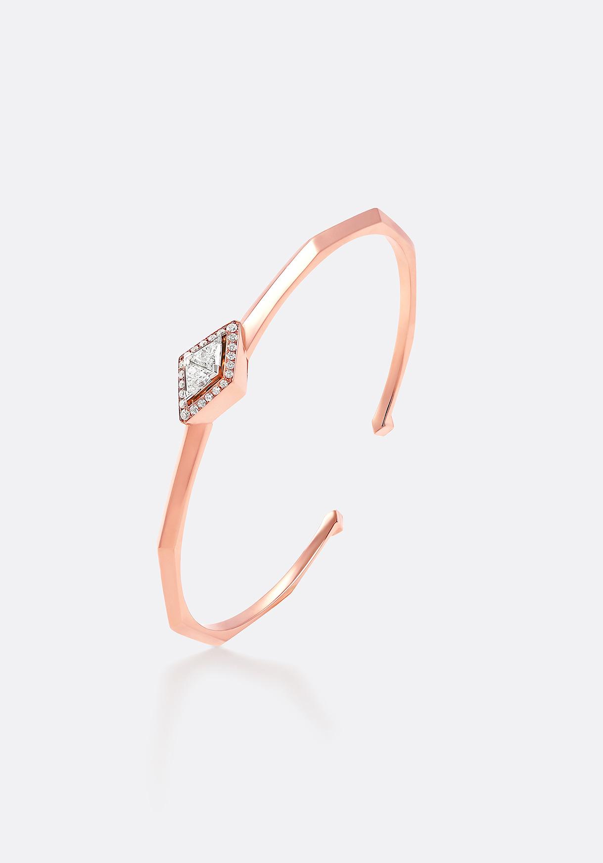 Cuff - a geometric three-dimensional design, crafted in rose gold.