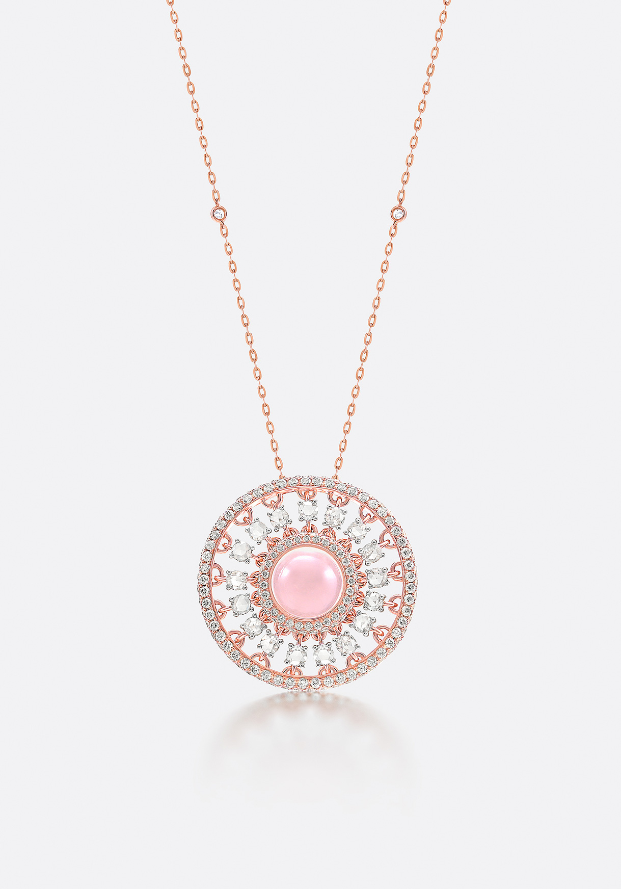 Pendant - rose-cut and full-cut diamonds sparkle brightly on rose gold.