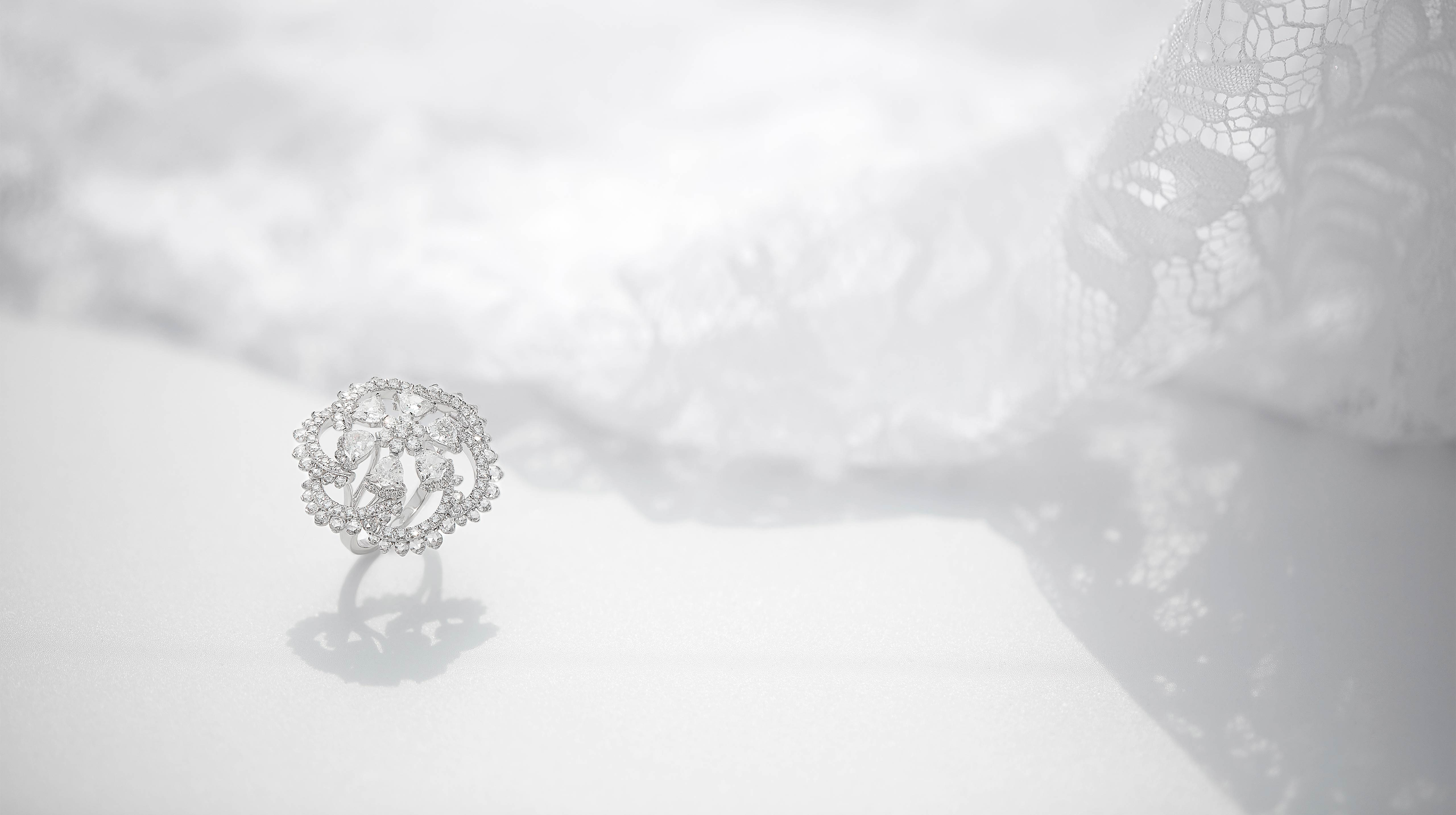 Jewel - the delicate lace of Chantilly weaves surreal patterns.