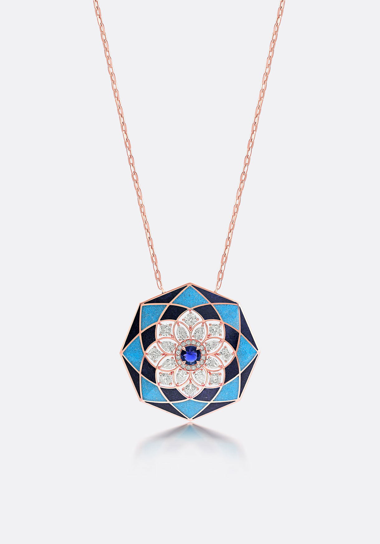 Pendant - Coloured stones are inlaid in a kaleidoscopic pattern.