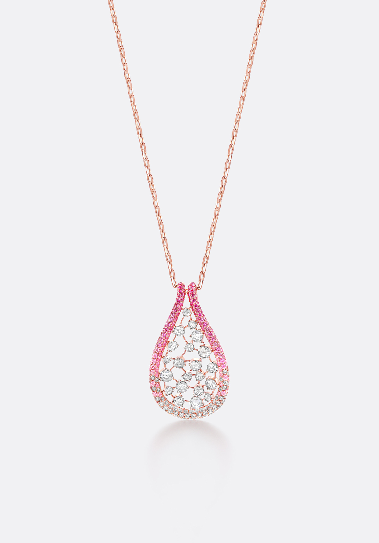Pendant - interlinked, sparkling rose-cut diamonds reminiscent of dew drops.