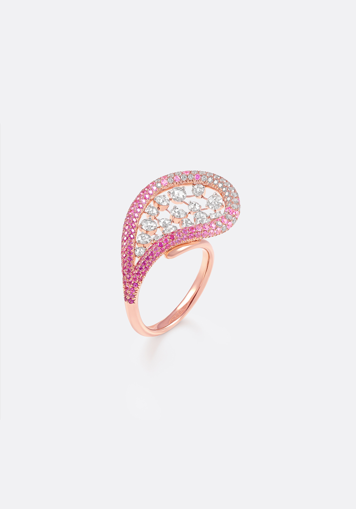 Ring - three-dimensional rose-gold jewels pavé-set with ombré pink sapphires.