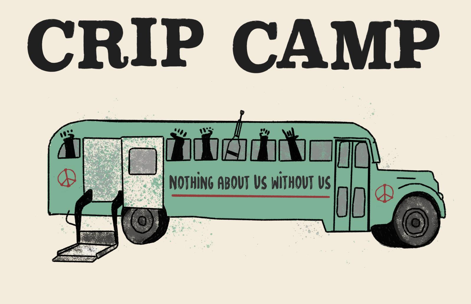 Ilustración de un autobus con la frase Nothing About Us Without Us. Una frase que acompaña todo el documental. Desde las ventanas del autobus, aparecen manos de personas en señal de lucha, muletas y simbolos de la paz.