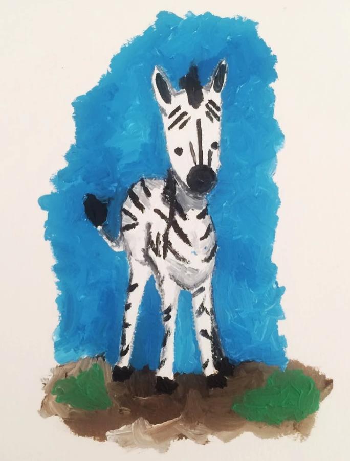Dibujo de una cebra en acuarela realizado por mi hermano Manu. La cebra está de pie mirando al frente.