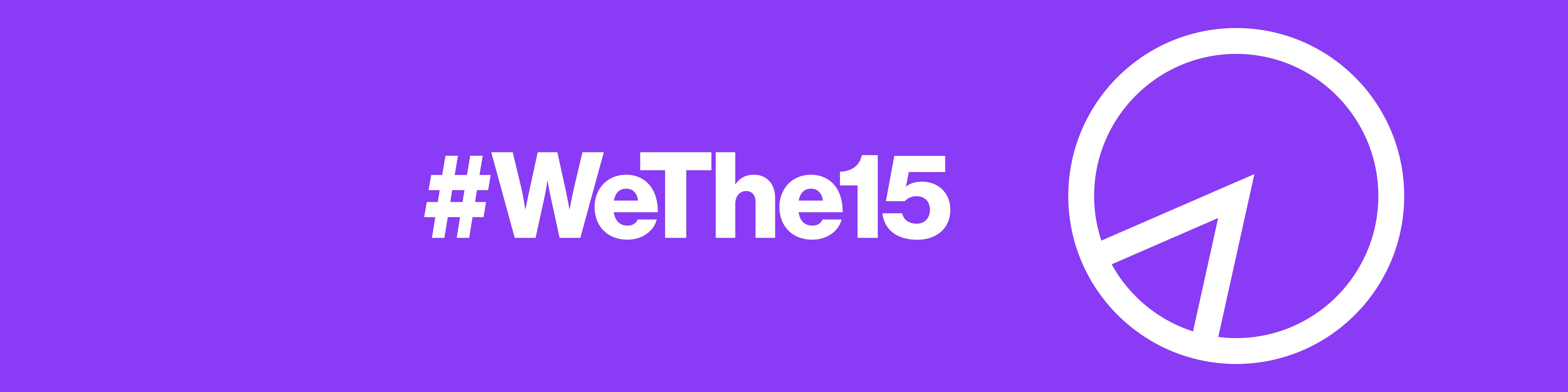Logo de la campaña #Wethe15. Es color morado y aparece el hashtag acompañado de un símbolo gráfico para indicar el porcentaje.