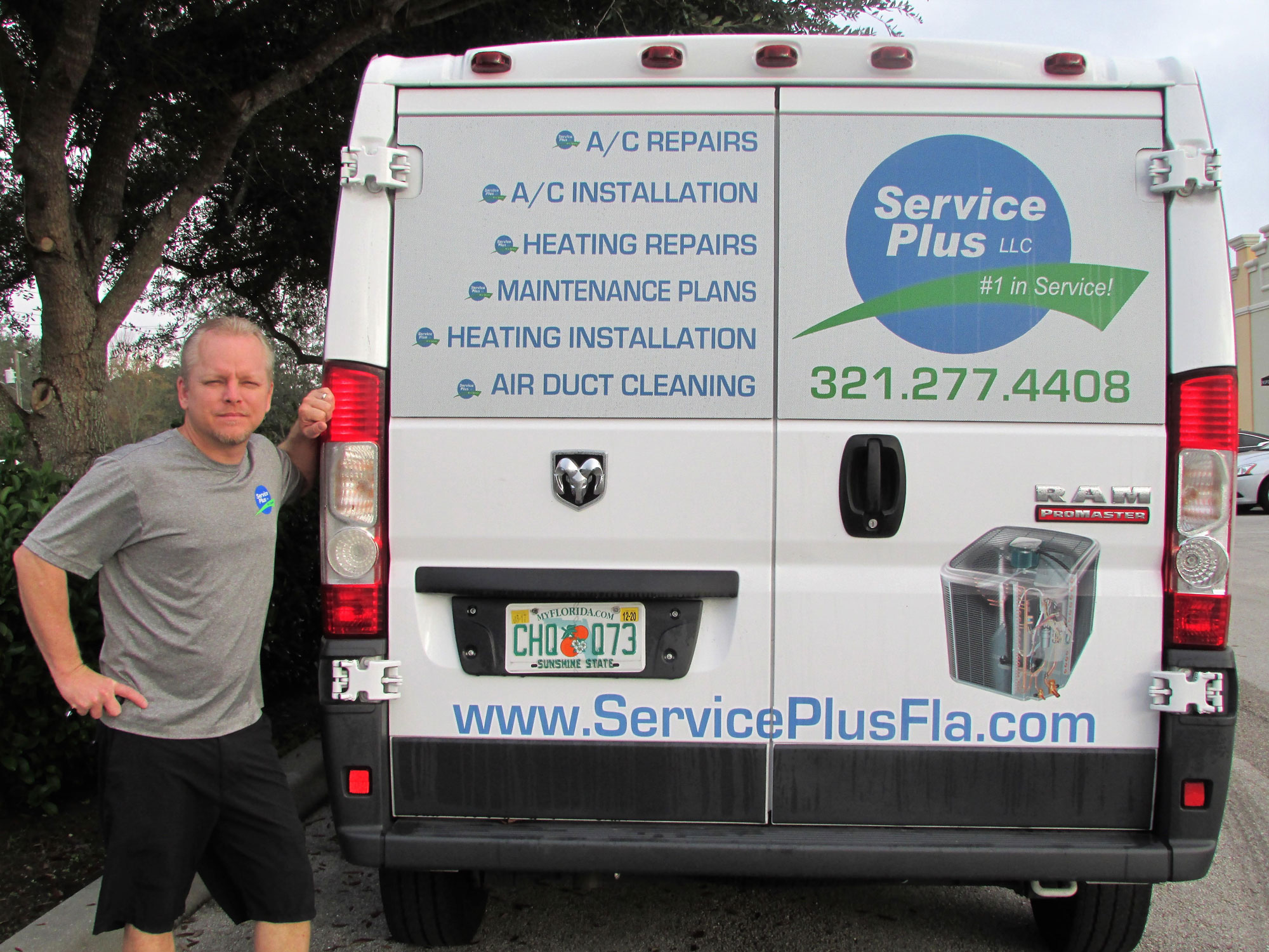 James Clayton, Owner, with Service Plus Van