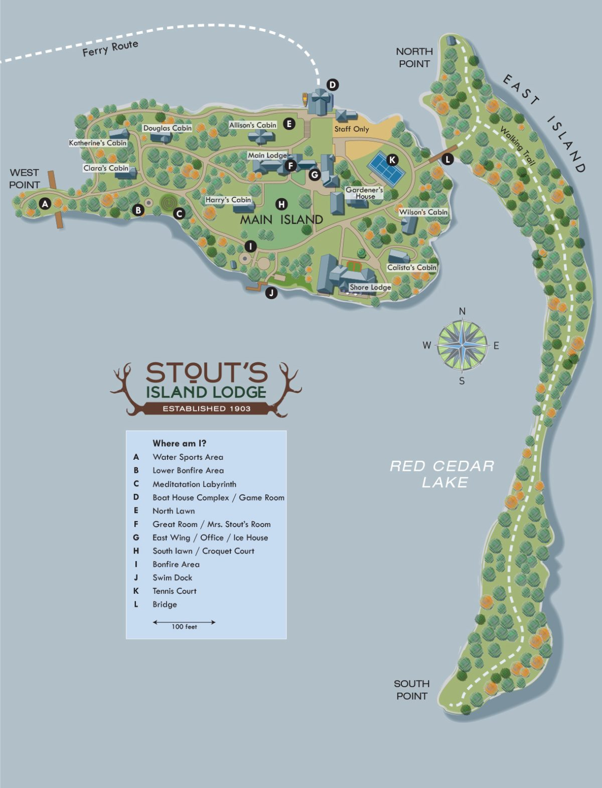 Stout's island map