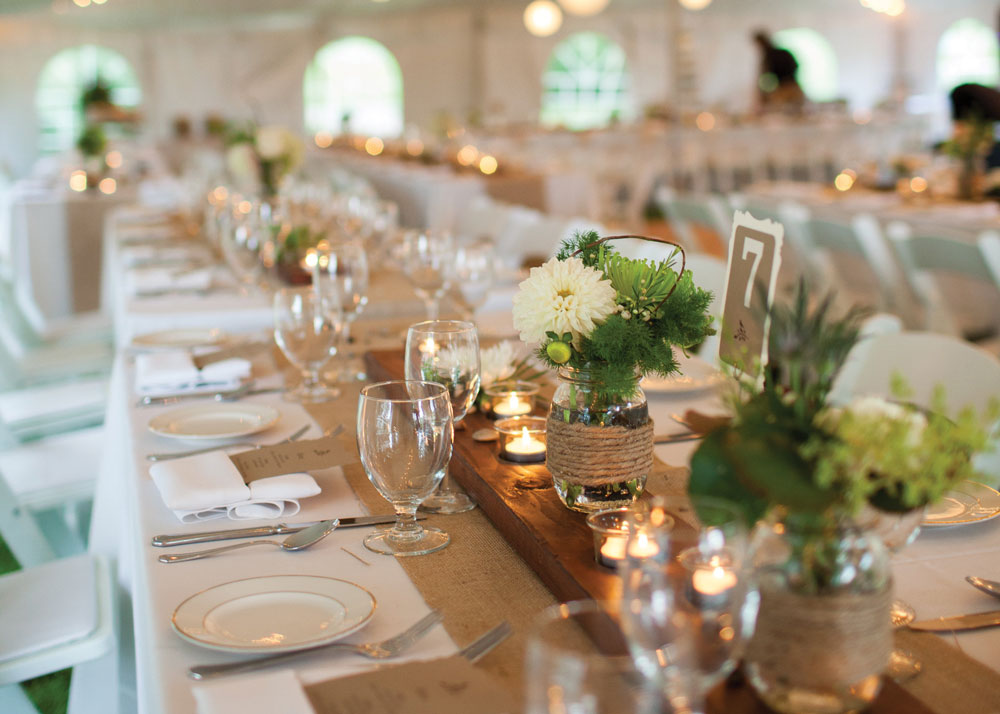 Wedding reception dining tables