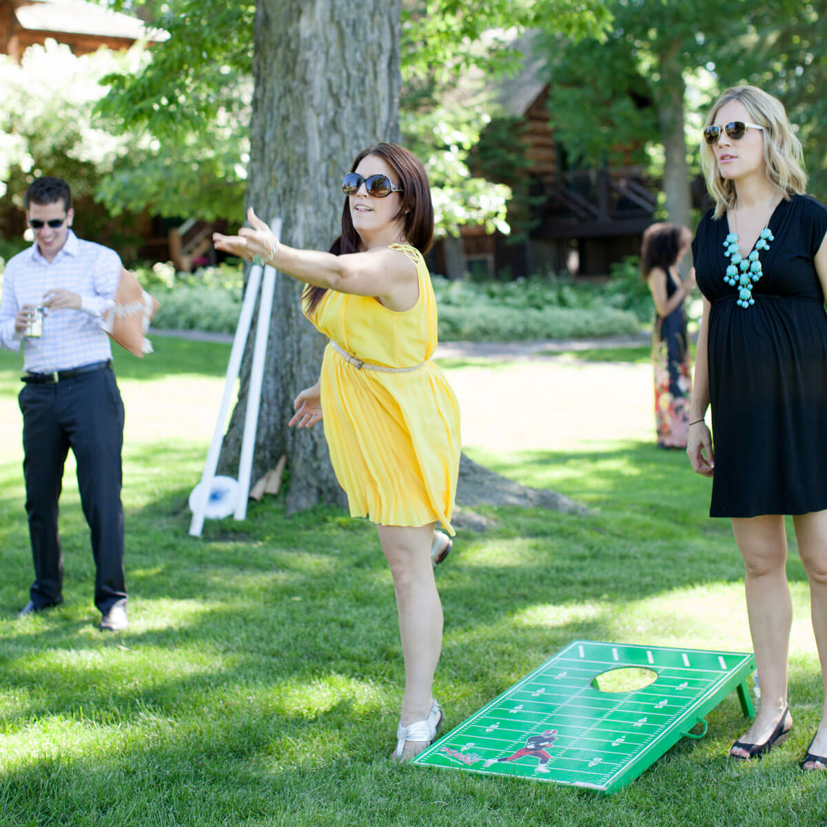 Wedding guests playing island games