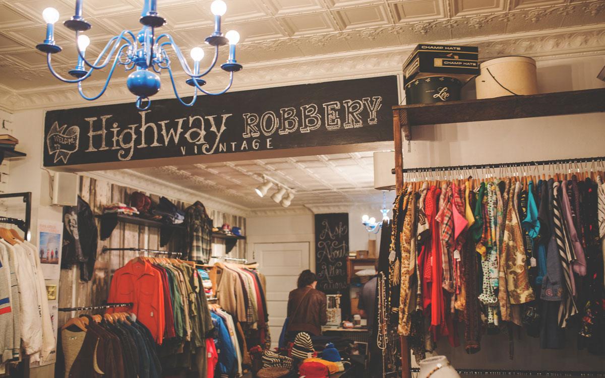 Highway Robbery vintage featuring multiple clothing racks