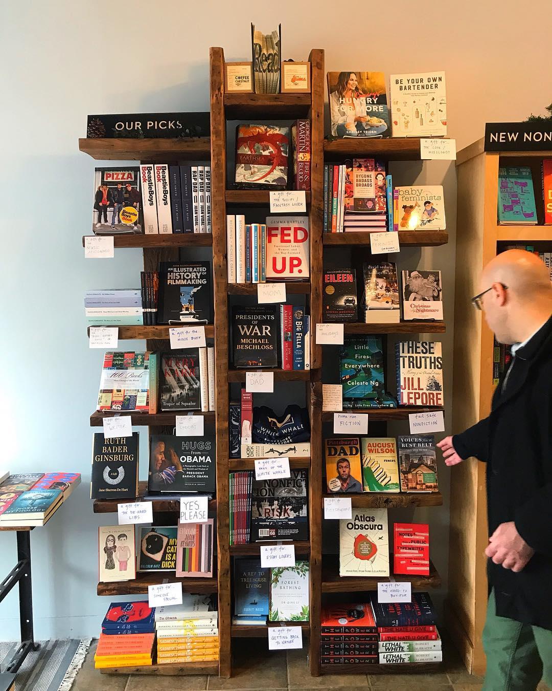 filled bookshelf in White Whale Bookstore