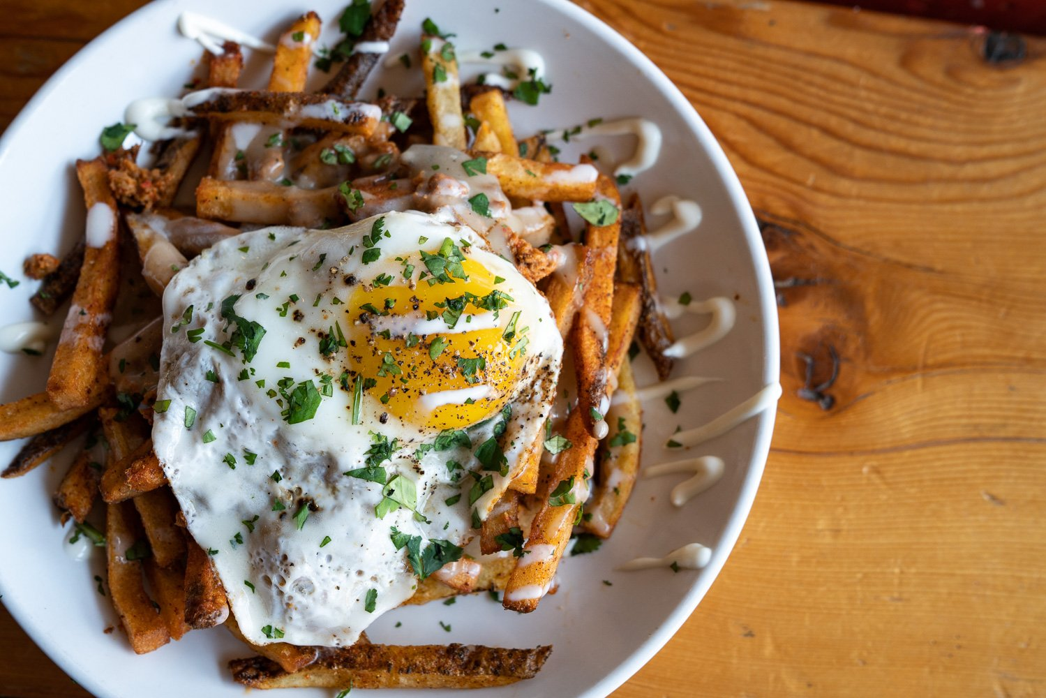 fries & eggs on table at Smallman Cafe Pittsburgh