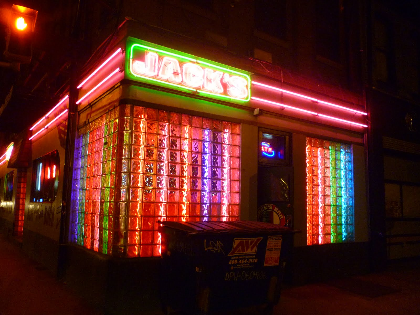 rainbow lights & neon sign outside Jack's Bar in Pittsburgh