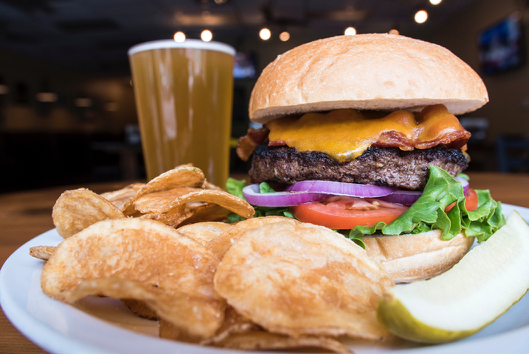 burger, fries, and beer