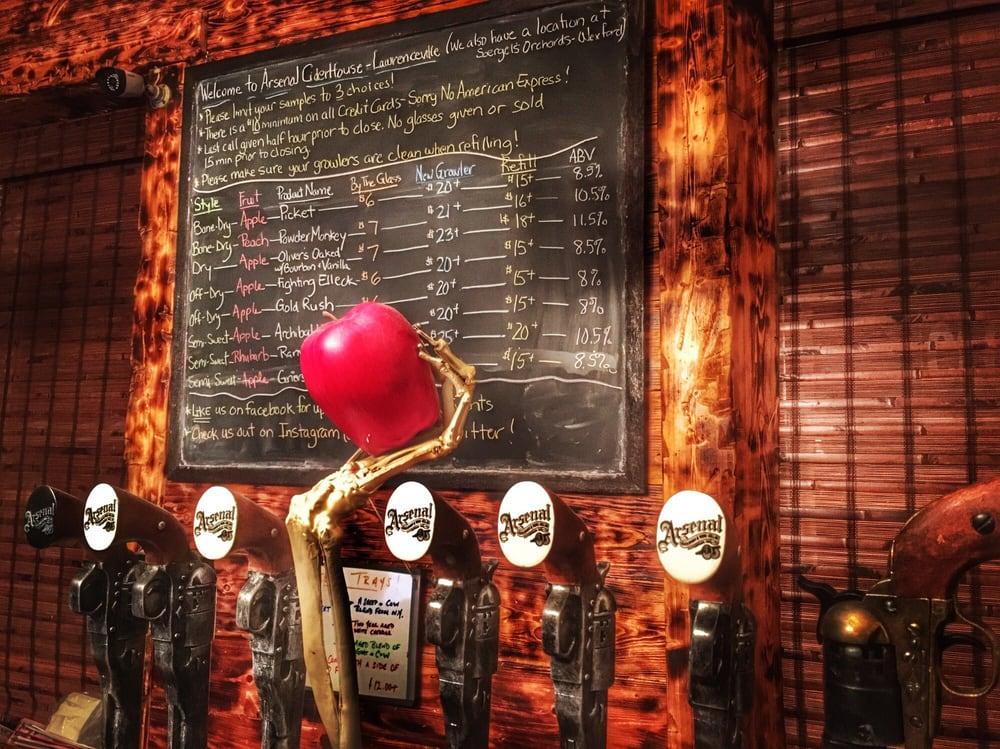 Arsenal Cider House and Wine Cellar menu board