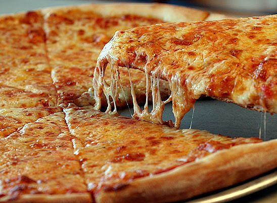 close up of cheese pizza