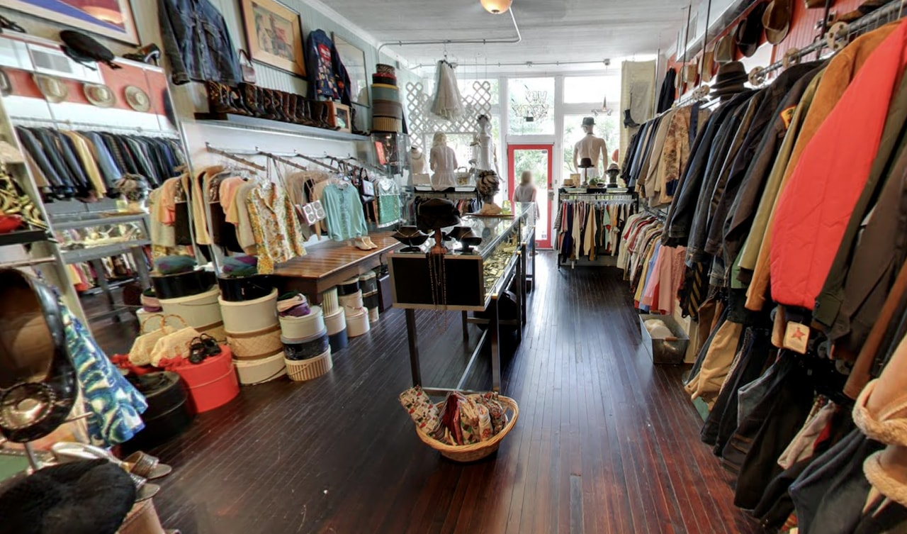 Hey Betty vintage clothing boutique featuring racks of clothes