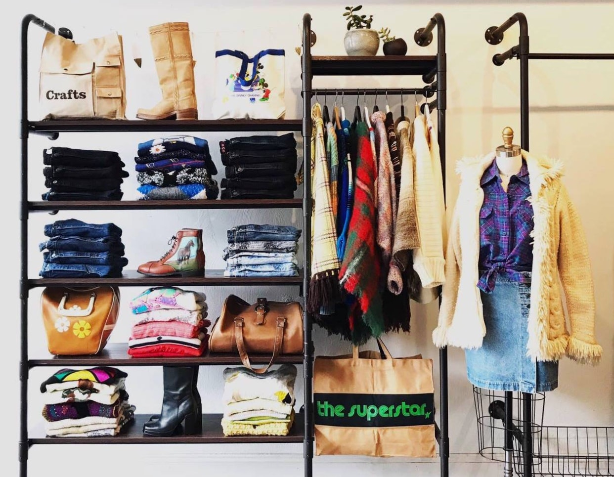 selection of vintage clothes. Pants, booths, fur coats and more are featured