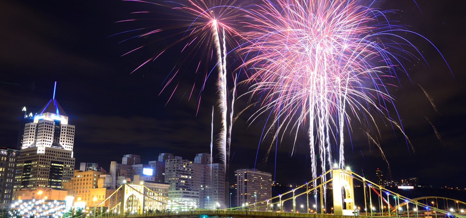 fireworks at light up night Downtown Pittsburgh