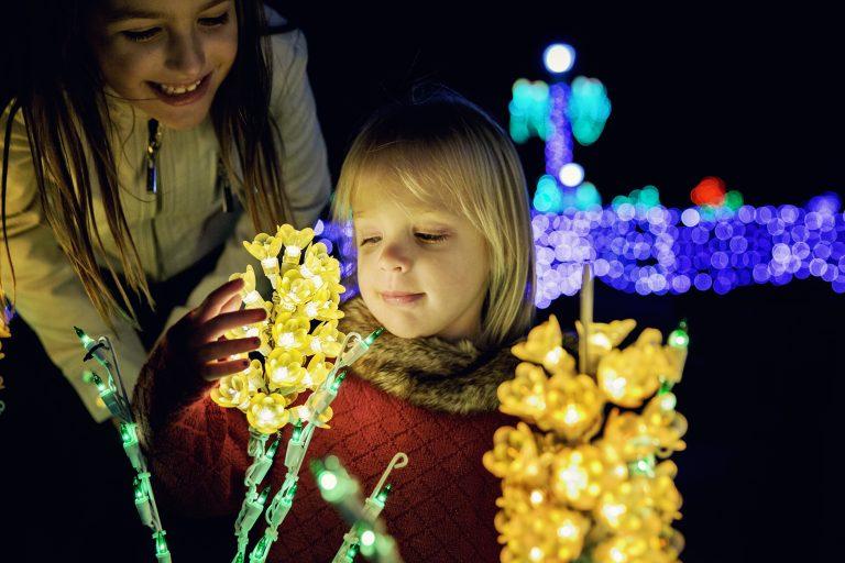 girl at Oglebay winter festival of lights