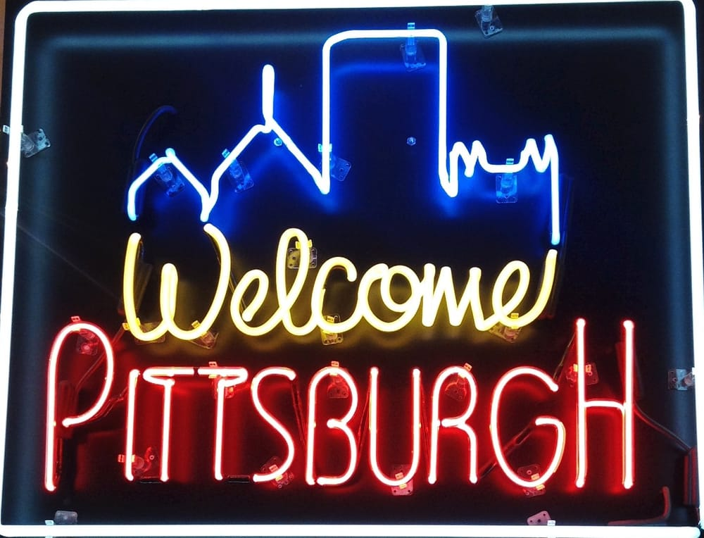light up sign at welcome pittsburgh Information and Gift Shop
