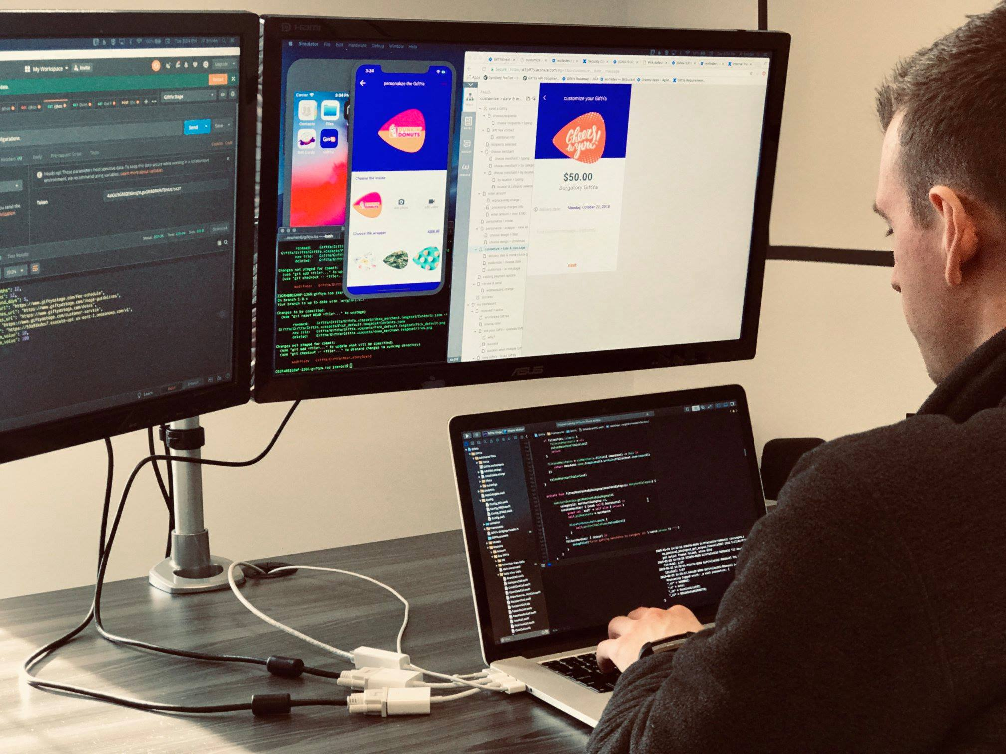 a giftya developer working on the giftya app interface