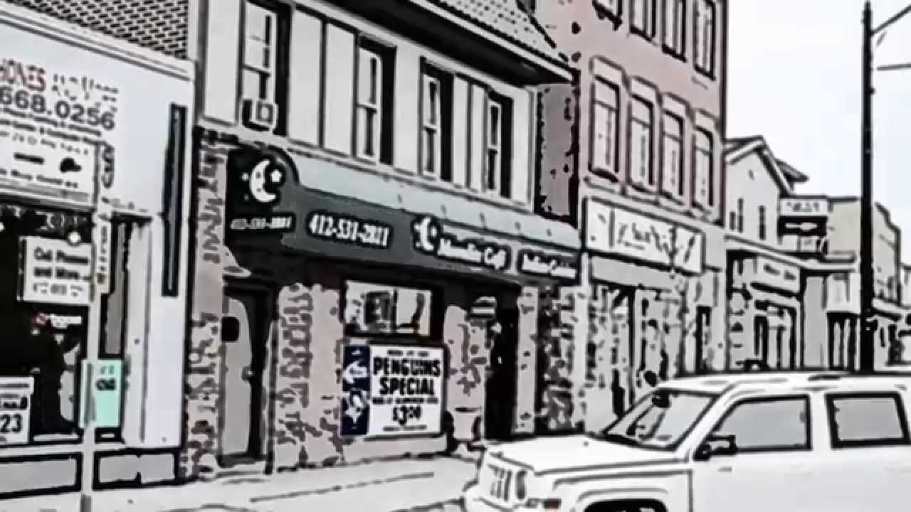 A drawing of Moonlite Cafe in Pittsburgh