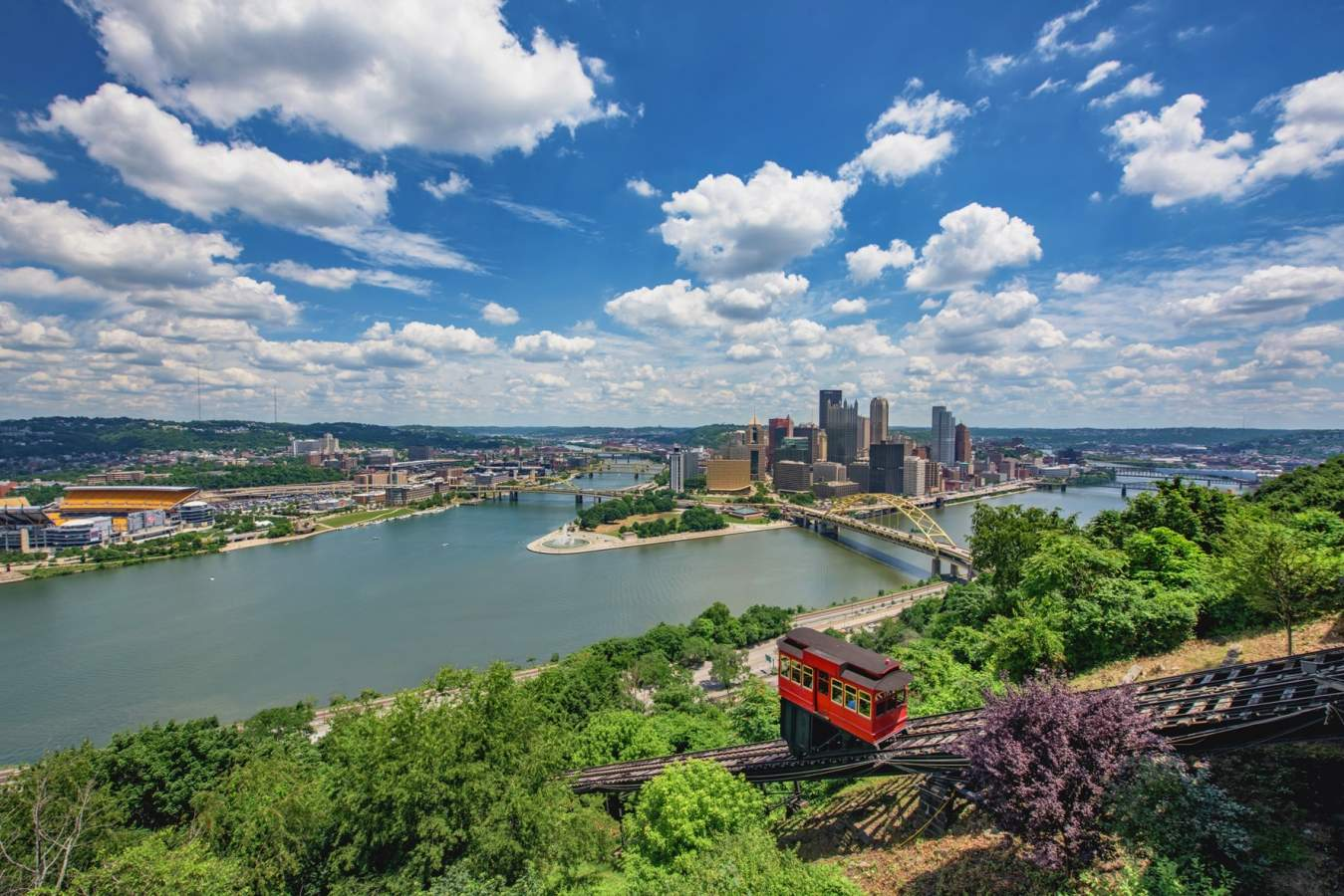 The Duquesne Incline and Pittsburgh skyline