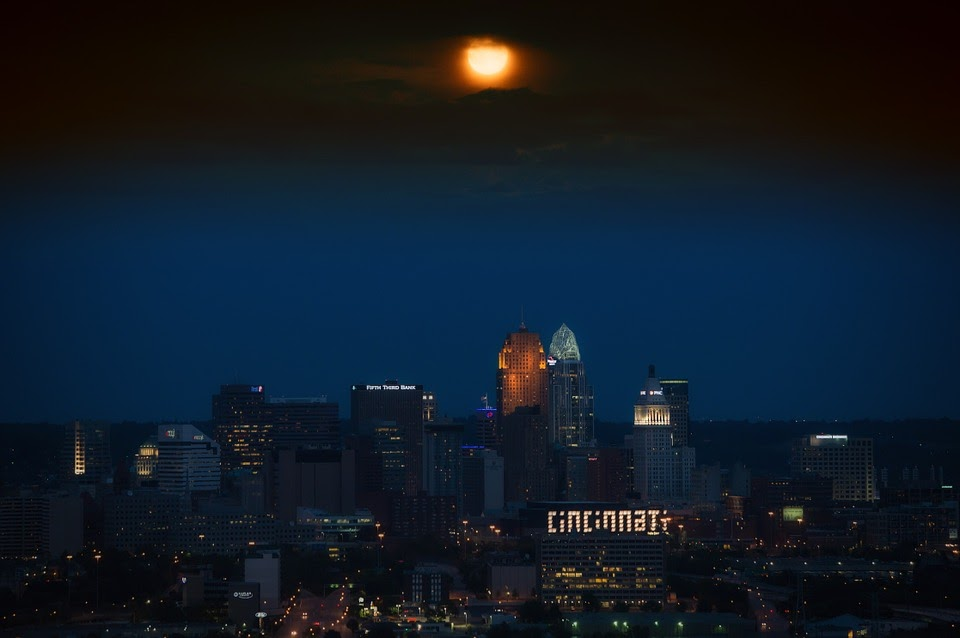 Cincinnati, Ohio, Skyline, City, Urban, Night, Evening