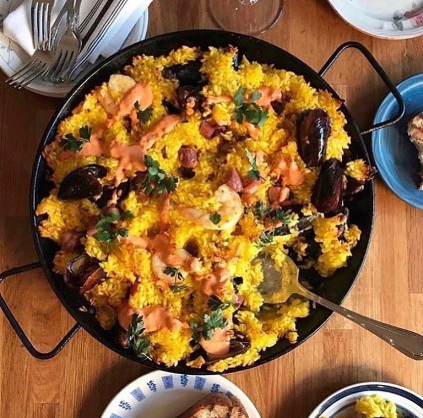 A large plate of jambalaya