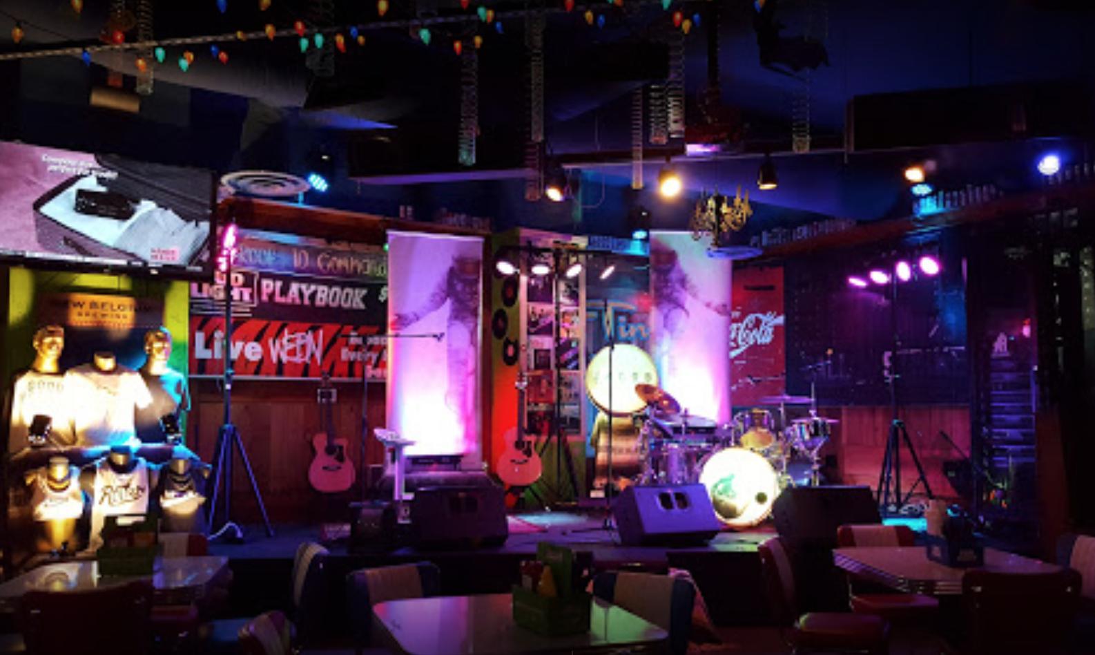Night lit bar with pop culture feel