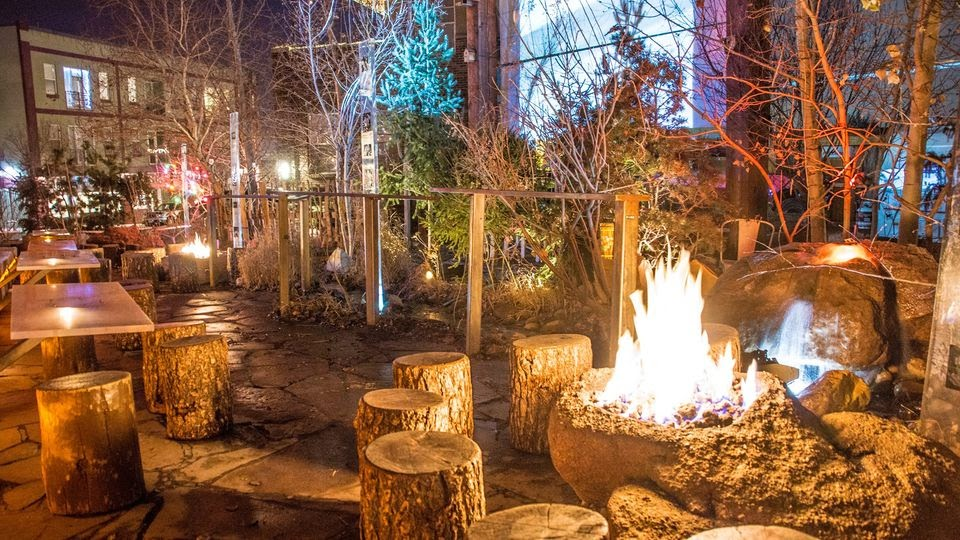 Image may contain: plant, tree, fire, table, night and outdoor